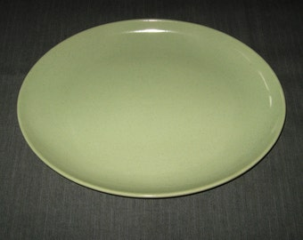 """Made in California: Pale Apple Green 13"""" Oval Platter, Brown Specks, perhaps Taylor Smith Taylor, 1950s"""
