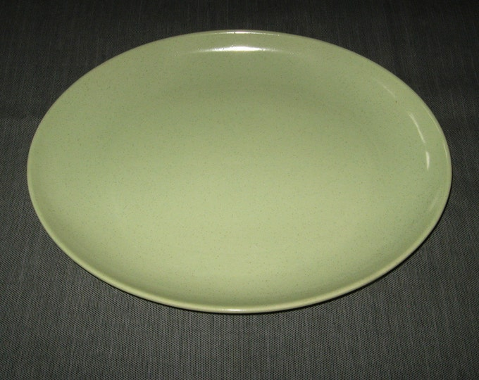 "Made in California: Pale Apple Green 13"" Oval Platter, Brown Specks, perhaps Taylor Smith Taylor, 1950s"