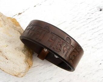 Mens leather bracelet, Esoteric leather bracelet, Spiritual, Buddhist bracelet, Om Mani Padne Hum,