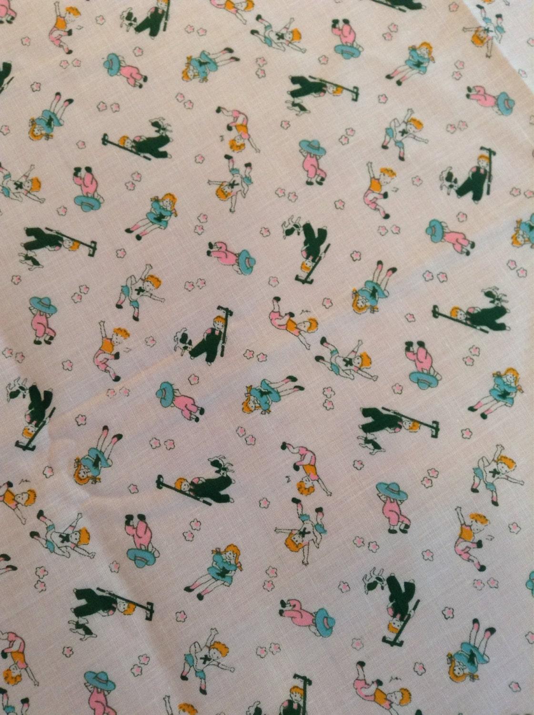Vintage novelty print fabric yardage children by for Vintage childrens fabric prints