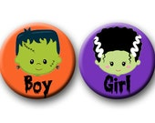 Halloween Theme Gender Reveal Party Favor 1.25 inch Pin Back Buttons Set of 20 Team Boy Team Girl