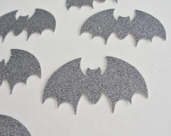 Halloween Decorations, Silver Bats, Glitter Bats, Halloween Bat Cut Outs, Halloween Bat Die Cuts Bat Halloween Party Tag, Set of 12