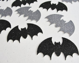 Halloween Decorations, Black and Silver Bats, Glitter Bats, Halloween Bat Cut Outs, Halloween Bat Die Cuts Bat Halloween Party Tag Set of 12