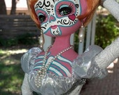 RESERVED* Sylvia & Zieggy vintage upcycled bradley glamour dolls OOAK handpainted day of the dead