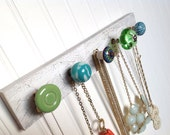 Jewelry Hanging Organizer in Teals and Greens #54