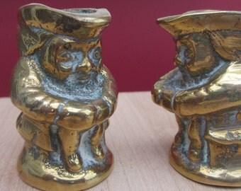 Vintage 2 Brass Toby Jugs Heavy Brass Candle stick holder