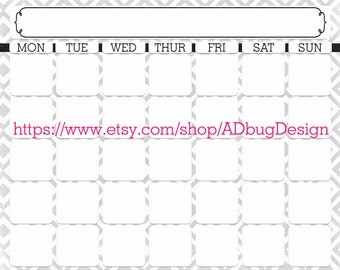 Diana Marie Full HORIZONTAL Calendar 16x20 - Printable Dry Erase Calendar - High Resolution JPG - Calendar