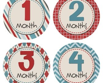 Newborn Monthly Stickers Baby Month Stickers Monthly Birthday Milestones Babys First Year Monthly Photos Boy Baby Shower Gift BMST008