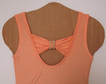 Peach Bow Back Tank Leotard with Flowers and Rhinestones