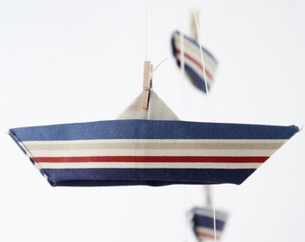 Fabric origami boats, Baby mobile, origami mobile, navy blue and red stripes, nautical nursery, hanging mobile, baby boy decor, paper boat