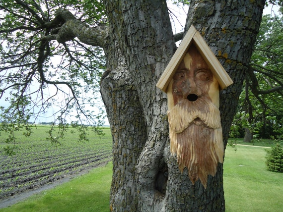 Wooden birdhouse with Old Man face Birdhouse with handOld Man Face Birdhouse