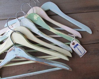 Wedding Dress Hanger Cottage Chic Distressed Painted Hanger Rustic Wedding