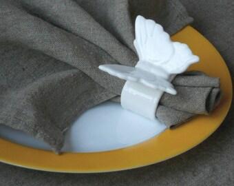 Linen dinner napkins natural taupe 16 inch square serviette in vintage rustic style linen napkins set of 4