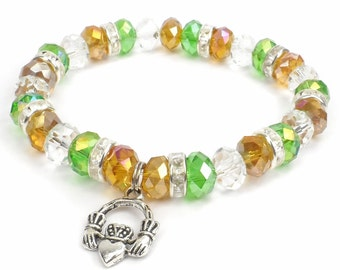 Claddagh Bracelet, Green and Gold Crystal Stretch Bracelet, Irish Pride Jewelry
