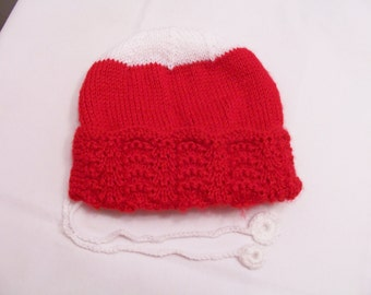 Knitted red baby hat - red and white baby hat - knitted baby hat - knitted hat - baby clothing - knitted bonnet - red baby knits