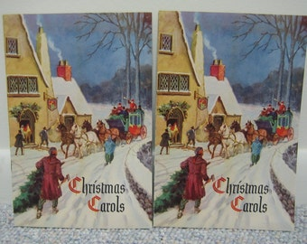 Pair of Vintage Christmas Carol Books Promotional Items  Illustrated by Walter DeMaris