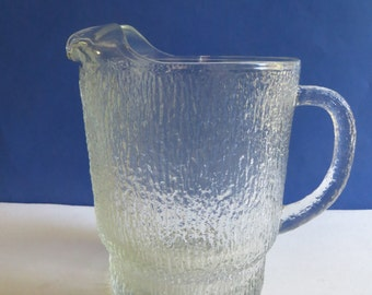 Vintage Indiana Glass Crystal Ice Pitcher With Ice Lip