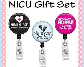 Retractable Badge Holders - NICU Nurse Badge Reel Gift Set - NICU Nurse Badge Reels - 0998