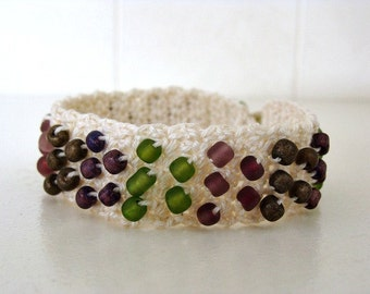 "Crochet Beaded Bracelet Made For 7"" Wrist"
