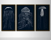 Nautical Jellyfish Triptych Set of 3 Large Prints - 18x36 and 24x36 Prints - Navy and White Illustration - Large Wall Decor - Navy Art - BySamantha