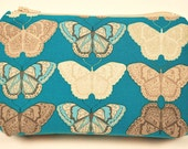 BUTTERFLY, teal, cosmetic bag/zipper bag