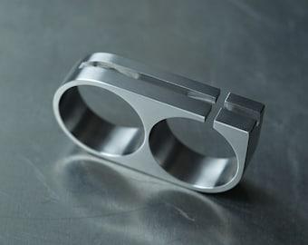 Titanium Two Finger Ring Men's. Bauhaus Minimalist with Cross Cutouts