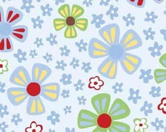 Fat Quarter Wendy Slotboom Fabric Frolic Daisies in Blue