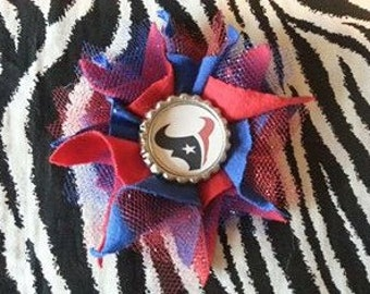 Flower Bottlecap Football Houston Texans Logo Hair Bow on Lined Alligator Clip