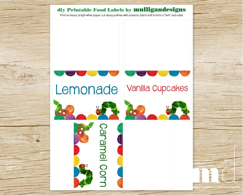 Hungry Caterpillar Birthday Food Labels Printable Digital