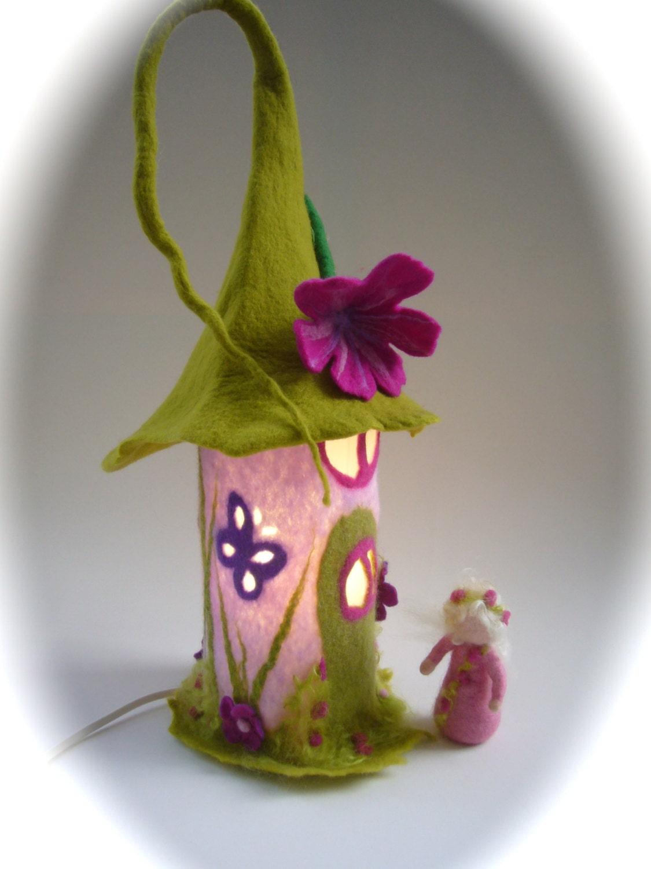 Table Lamp cover Fairy-house Wet Felted.Fairy