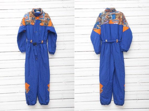 1990s Dark Blue Skirwear Onepiece Snow Suit by Blue Seven / Size 176 / Snowboarding Clothing