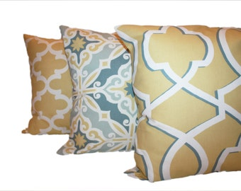 Yellow and Blue Pillow Set of Three - You Choose the Size -Modern Pillow Covers