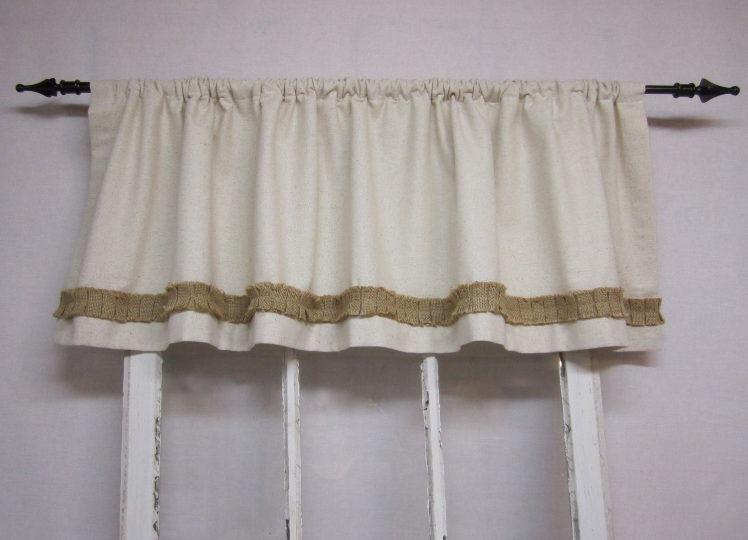 Burlap Valances For Windows : Burlap curtains valance window valence by runningwithribbons