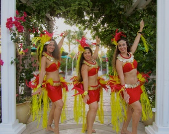 Complete Ote'a costume yellow and red
