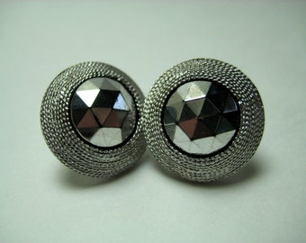 Vintage Signed CROWN TRIFARI Faceted Hematite Silver Clip Earrings