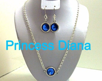 Blue Swarovski jewelry - Blue Jewelry set - Blue earrings - Blue crystal earrings - Blue necklace - Swarovski earrings