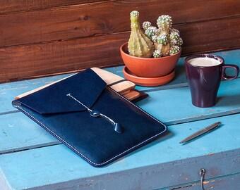 Ipad Leather Case Navy Blue Italian Veg Tan