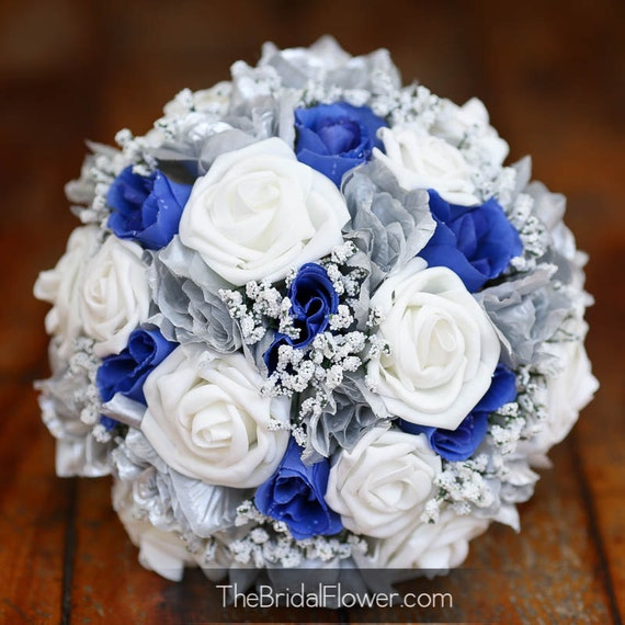 Royal Blue And Silver Wedding Flowers: Royal Blue And Silver Silk Wedding Bridal By TheBridalFlower