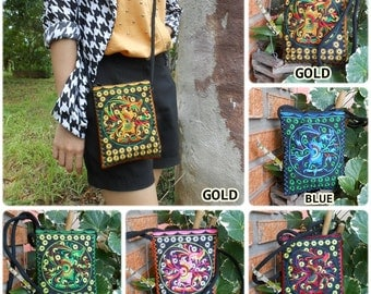 Small Bag, Cross body Bag, Long Strap, Embroidered Textiles by Hmong Hilltribe. (KP1059)