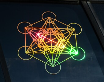 "Metatron's Cube,   Sticker, Window Decal,  Prismatic Rainbow Gold or Silver Vinyl ,  Large 11.5"" Size"