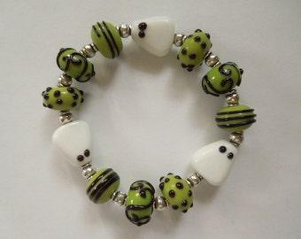 Handmade Lampwork Glass Ghost Bracelet Halloween Stretch Bracelet
