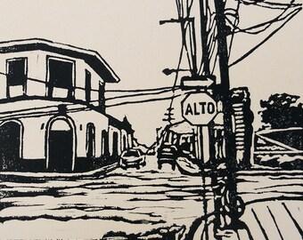 Alto/Stop linocut relief print (Nicaragua series)