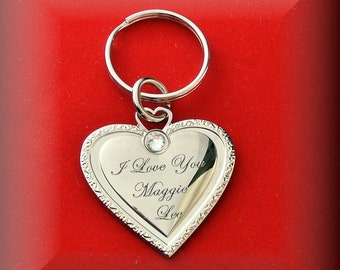Personalized Heart Keychain With Stone Engraved Free