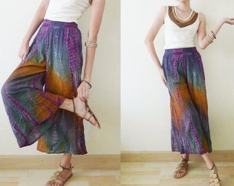 vintage Tie Dye Crop Palazzo Pants, wide leg pants, harem pants, capri, elastic waist, BOHO, summer, colorful, earth tone, Casual Fit, Small