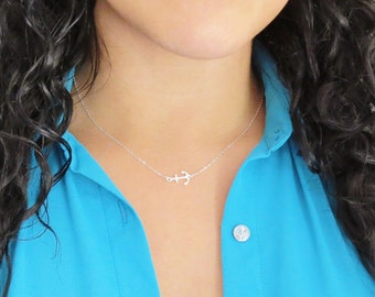 Silver Side Anchor Necklace, Sideways Anchor, Anchor Jewelry, US Navy Wife, Sterling Silver Anchor Necklace, Gifts Under 25