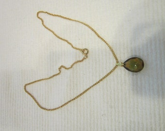 Vintage Gold tone Chain with Amber Cut Glass pendant