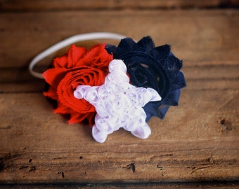 Red, White, and Blue Shabby Flower Headband, Fourth of July, photo prop, Newborn, toddler, adult