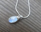 Medium Sized Moonstone Necklace Wire Wrapped Blue Flash Moonstone Pendant Necklace Womens Jewelry Sterling Silver 925 Stamped Snake Chain