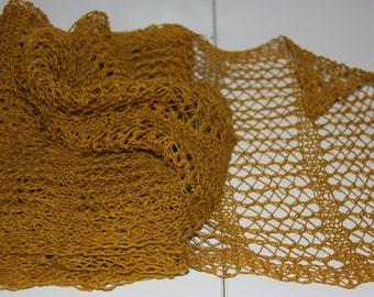 Ochre, mustard yellow linen lace scarf. Hand knit, handmade. Long and narrow
