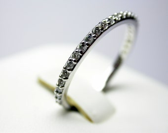 thin diamond wedding band 0.25 ct total weigh stackable  14 k white gold